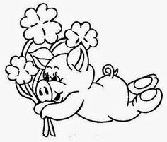 desenho de porquinho com flores