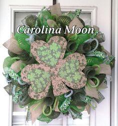 St Patricks  Day Shamrock Wreath Green Deco Mesh St Patricks Day Shamrock Wreath with Ribbon Streamers