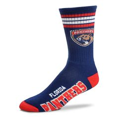 Adult For Bare Feet Florida Panthers Deuce Striped Crew Socks, Men's, Multicolor