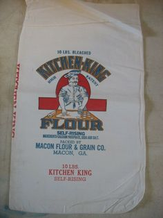 NOS Vintage Kitchen King Macon GA Flour Bag 10 Lbs. | eBay Creole Kitchen, Flour Sacks, Grain Sack, Vintage Kitchen, Packaging, King, Bags, Handbags, Wrapping