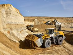 Liebherr - Three L 586 wheel loaders oparating in a sand pit from the German Willy Dohmen Group
