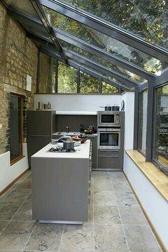 coolest kitchen ever seen! glass/ extension/ forest/ modern/ outdoor/ clean