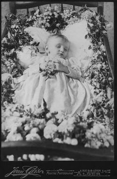 Postmortem baby, in crib, with lots of flowers, wearing white gown, with hands clasped and holding flower