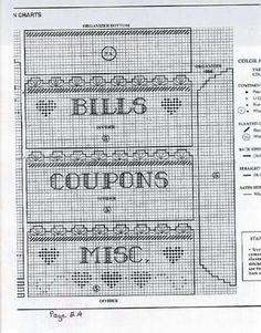 Bills and coupon holder 2 of 4 Plastic Canvas Letters, Plastic Canvas Christmas, Plastic Canvas Crafts, Canvas Designs, Canvas Patterns, Craft Patterns, Cross Stitch Alphabet, Cross Stitch Patterns, Letter Holder Wall