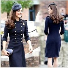 Elegant British Style Double Breast Blue Coat