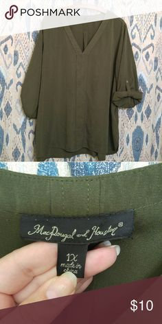 Loose green blouse Loose light weight blouse Dark green Roll up button sleeves Long, cute with leggings MacDougal and houston Tops Blouses