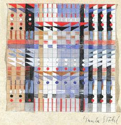 Design for a Jacquard woven wall hanging ca. 1927. Signed 'Gunta Stölzl'  12x12 cm