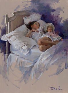 Sweet dreams painting by Ricardo Sanz Acrylic Portrait Painting, Oil Portrait, Cool Paintings, Beautiful Paintings, Pictures To Paint, Art Pictures, Anime Comics, Spanish Art, Spanish Painters