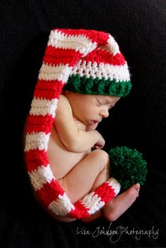 Newborn Baby Christmas Striped Red & White Long Stocking by PamKR, $25.00