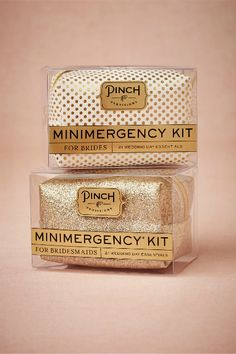These minimergency kits make sweet and unique wedding gifts for the bride and/or bridesmaids