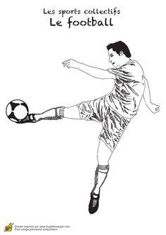 Figure à colorier d'une reprise de volée effectuée par un joueur de foot Soccer Kits, Printable Coloring Pages, Lesson Planning, Manga, Auburn, Illustration, Sports, Scrap, Portraits