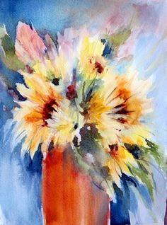 Little suns. Watercolour painting 20x30 cm by Raxu Helminen