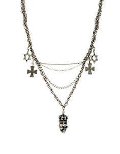 Religion Multi Chain Skull Charm Necklace