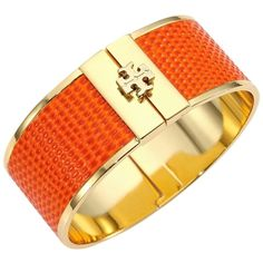 Pre-owned Bracelet ($155) ❤ liked on Polyvore featuring jewelry, bracelets, accessories, leather cuff jewelry, tory burch jewellery, leather jewelry, orange jewelry and tory burch jewelry