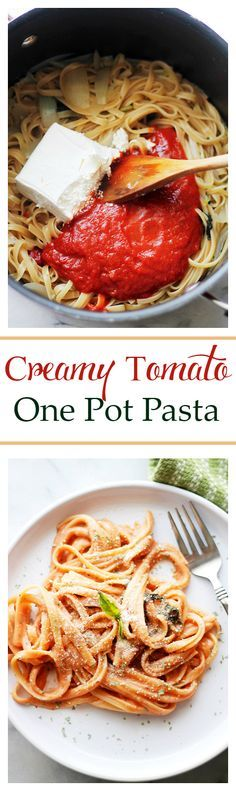 Creamy Tomato One Pot Pasta - The easiest and creamiest pasta without the cream! It all happens in the same pot and it will be on your dinner table in just 20 minutes! Get the recipe on diethood.com: