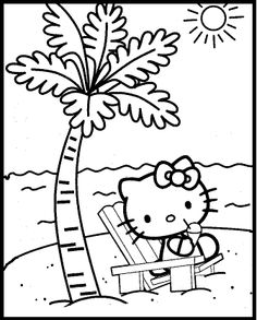 hello kitty at the beach summer coloring picture for kids