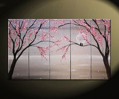 Love Birds Painting Large Seascape White and Black Art Silver Chinese Zen Style Original Pink Blossoms 49x24 Five Canvases