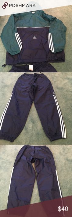Adidas Teal and Navy Tracksuit 2XL Great for a rainy day Adidas Jackets & Coats