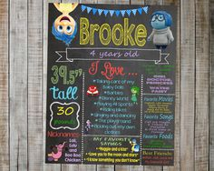 Inside Out Birthday Chalkboard / Inside Out Birthday Party / Inside Out digital chalkboard / Inside out Party / Inside Out movie by AudreyEdesigns on Etsy https://www.etsy.com/listing/240536780/inside-out-birthday-chalkboard-inside