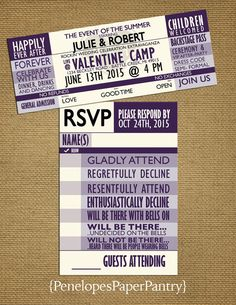 Purple and Ivory Concert Ticket Wedding by PenelopesPaperPantry