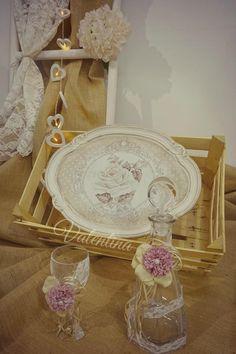 Χειροποίητος Ιταλικός ξύλινος Δίσκος με Κρυστάλλινη Μποτίλια - Ποτήρι! Our Wedding