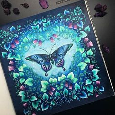 "4,988 Likes, 36 Comments - Johanna Basford (@johannabasford) on Instagram: ""Need some colour inspiration today? I LOVE this #MagicalJungle Butterfly by @black_aneri"""