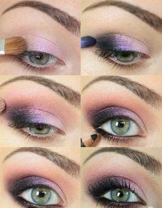 Eye Makeup - How to Do Night Makeup for Green Eyes Eyeshadow For Green Eyes, Purple Eye Makeup, Makeup For Green Eyes, Skin Makeup, Smokey Eyeshadow, How To Do Eyeshadow, Pink Eyeshadow, Eyeshadow Palette, Perfect Makeup
