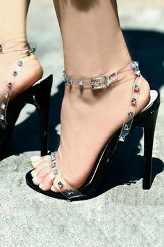 c2acad915 Rivets Ankle Strap Fashion Women Peep Toe Sandals High Heels Shoes   Hothighheels Strappy Sandals Heels