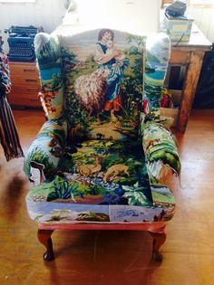 Still in the process of covering this wingback chair