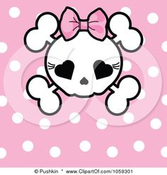 Google Image Result for http://images.clipartof.com/small/1059301-Royalty-Free-Vector-Clip-Art-Illustration-Of-A-Polka-Dot-Background-With-A-Girly-Skull.jpg