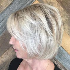 Trendy Haircuts Ideas : Over Ash Blonde Balayage Bob Haircut For Older Women, Short Hair Cuts For Women, Short Hairstyles For Women, Hairstyles With Bangs, Short Hair Styles, Asymmetrical Hairstyles, Afro Hairstyles, Wedge Hairstyles, Updos Hairstyle