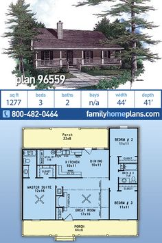 Not difficult to see why this 3 bedroom, 2 bathroom ranch home plan is a best-selling small house plan. It has a simple floor plan with large front and rear porches and is a perfect starter home for y Cabin House Plans, House Plans 3 Bedroom, Cabin Floor Plans, House Plans One Story, Family House Plans, Dream House Plans, Story House, Family Houses, Simple Ranch House Plans