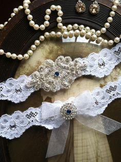Wedding Garter - White Lace Garter Set - Rhinestone Garter - Applique Garter - Vintage - Bridal Garter - Vintage Garter - Toss Garter. $35.00, via Etsy.