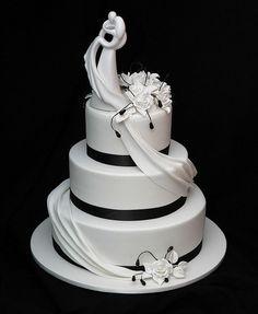 Black Stripped White Wedding Cake