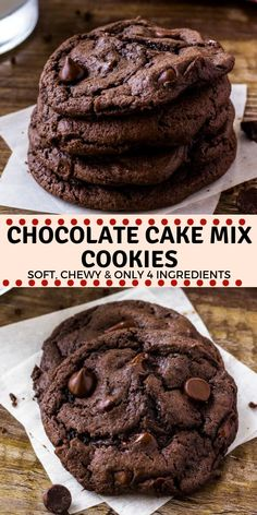 Chocolate Cake Mix Cookies are soft, chewy, and a little fudgy. The recipe only requires 4 ingredients, so it's the perfect easy chocolate cookie recipe for whenever the craving hits. cookies Chocolate Cake Mix Cookies - Soft, chewy & Only 4 Ingredients! Cake Mix Cookie Recipes, Chip Cookie Recipe, Easy Cheesecake Recipes, Dessert Recipes, Cake Mix Desserts, Easy Recipes For Desserts, Brownie Mix Recipes, Cake Recipes For Kids, French Desserts
