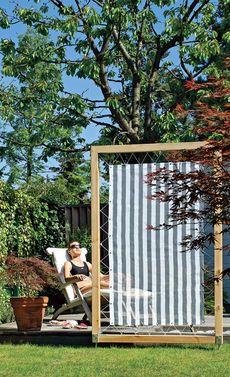Wood & Fabric Screen / Sichtschutz aus Holz // selbst.de