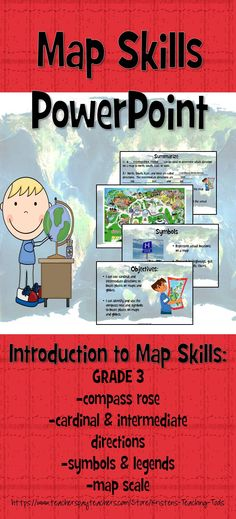 Introduction to map skills: interactive PowerPoint teaching compass rose, cardinal & intermediate directions, symbols & keys, map scales
