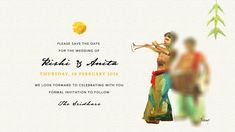 Samétha's South Indian Wedding Invitation Save the Date Card Front