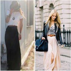 falda larga y blazer: Otoño