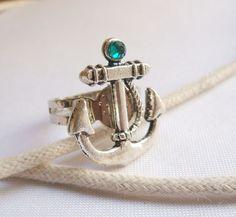 Adjustable Anchor ring with Swarovski Crystal