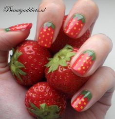 These 17 fruit nail art designs are as sweet as the fruit they're inspired from and perfect for the summer. Fruit nails are colorful and creative. Gorgeous Nails, Love Nails, Pretty Nails, Fun Nails, Colorful Nail Designs, Cute Nail Designs, Strawberry Nail Art, Strawberry Fruit, Strawberry Fields