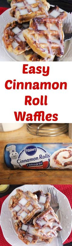 Easy Cinnamon Roll Waffles using Pillsbury Canned Cinnamon Rolls
