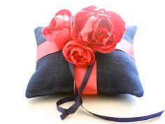 Ring pillowweddingnavyburlapring bearer by TheBurlapCottage