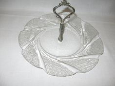 Serving Glass Tray Metal Handle Cookie Sandwich Veggie Chips