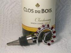 Wine Stopper Crystal & Siam Swarovski Crystal by GagaGems on Etsy, $15.00