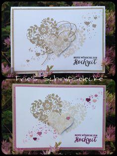 Das Stempelset Blüten der Liebe ist doch perfekt für Hochzeitskarten, einmal nur in Natur und Leinenfaden und einmal mit etwas Zarte Pflaume und Silbergarn. Der Spruch ist aus dem Set Rosenzauber !