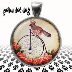 Put a Bird On It  Whimsical Bird Large glass pendant by Polkadotdog on Etsy
