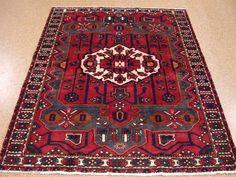 5 x 7 PERSIAN HAMEDAN Tribal Hand Knotted Wool REDS BLUES IVORY Oriental Rug #PersianHamedanTribalGeometric