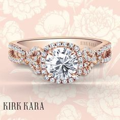 Kirk Kara engagement ring from the Pirouetta collection   platinum ring   rose gold ring   bow ring   detailed ring   round diamond ring   twist ring   romantic and vintage engagement ring   beautiful halo engagement ring   kirkkara.com   Design No. K174C65RR