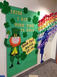 "St Patrick's Day Library Bulletin Board - ""Irish I had more time to read"" Patricks day door classroom Reading Bulletin Boards, Spring Bulletin Boards, Bulletin Board Display, Classroom Bulletin Boards, Classroom Ideas, March Bulletin Board Ideas, Preschool Bulletin, School Library Displays, Library Themes"
